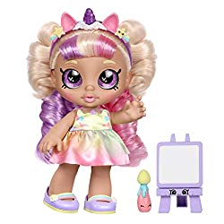 """Pre-school Kindi Kids 10 inch doll, and 2 Shopkin Accessories Mystabella loves to create and comes with a """"Magic Reveal Masterpiece""""! Dip mypaintbrush in cold water and brush the canvas to see mypainting magically appear! I can hold my paintbrush! ..."""
