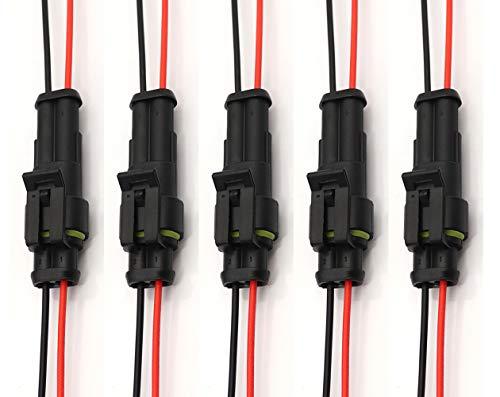 Dongge 5 Paar 2-polige Stecker Automobil-Drahtverbinder Auto HID männlich weiblich wasserdichte Anschlüsse mit 20 AWG Draht verwendet für Auto, LKW, Boot und andere Drahtverbindungen.