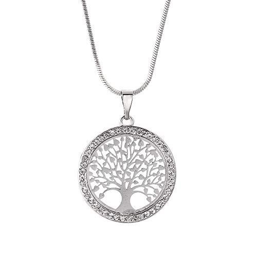 Clysburtuony Life Tree Necklace Round Tree Pendant Necklace Choker for Women Men (Silver)
