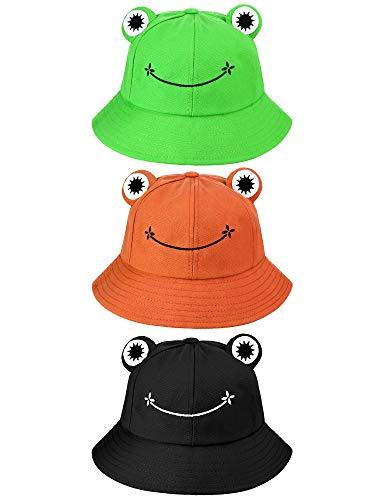 3 Stücke Süß Frosch Eimer Hut Fischerhut (Grün, Schwarz, Orange, Erwachsene)