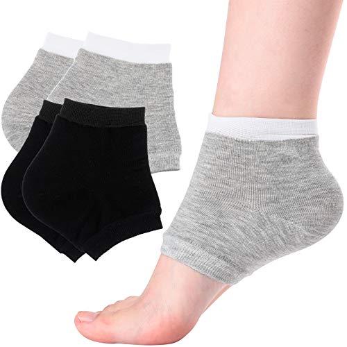 2 Pairs of Open-Toe Moisturising Gel Heel Socks, Spa Sock for Men or Women Foot Care, Cracked Heels, Dry Feet, Foot Calluses, Dead Skin, Black, Grey