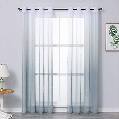 MRTREES Voile Gardinen Farbverlauf Leinenoptik Transparent Vorhang Kurz Tüllvorhang mit Ösen Grau 245×140cm (H×B) Modern für Dekoration Kinderzimmer Wohnzimmer Schlafzimmer 2er-Set