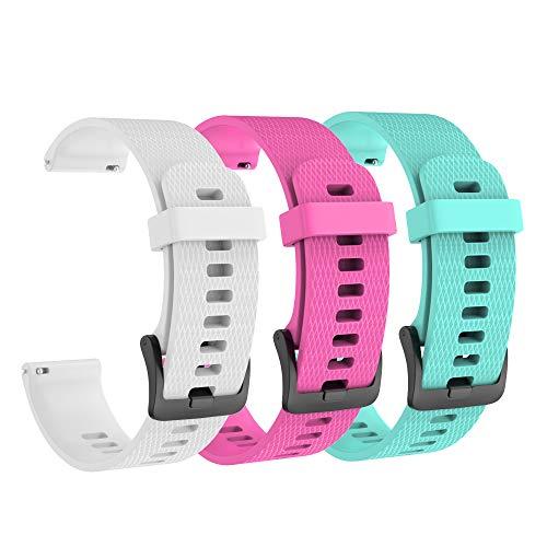 Isabake Armband für Garmin Vivoactive 3 / Vivoactive 3 Music / Vivomove / Vivomove Hr - Ersatzgurt aus weichem Silikon, 20 mm, kompatibel mit der Garmin-Uhr, Einheitsgröße (Weiß, Rot, Grün)