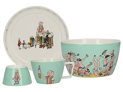 Creative Tops Roald Dahl BFG Service à Petit-déjeuner empilable en céramique pour Enfant Turquoise 4 pièces