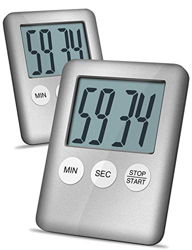 Digital Kitchen Timer, 2 Pack Magnetic Timer with Laud Alarm for Cooking, Baking, Workouts, Kids Timer for Countertop, Desktop, Classroom, Bathroom Teachers, Battery Included