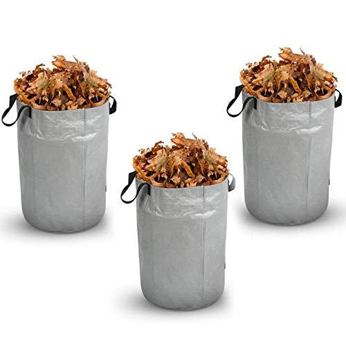 GAOLIGUO 100L Gartensack, 3er Wasserdicht & Reißfest Abfallsäcke aus robustem Polypropylen-Gewebe (PP) Gartenabfallsack 4 Griffe, für Gartenabfälle Laub,Silver