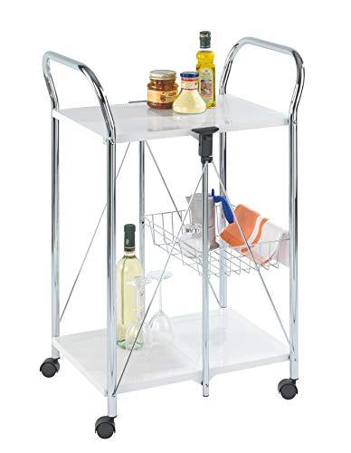 Wenko Sunny Carro de Cocina Plegable, Metal Recubrimiento de Polvo, Blanco, 44x56.5x90.5 cm