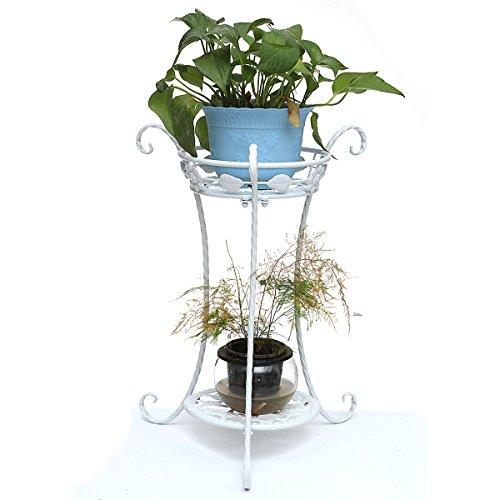 king do way Support pour Pot de Fleur en Métal Maison Bureau Balcon Décoration Intérieur Extérieur (Blanc)