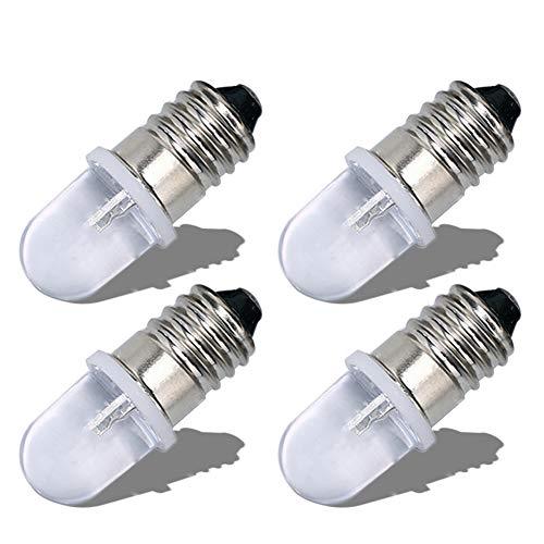 Ruiandsion E10 Bombilla LED 220V 230V AC Base de tornillo Luz indicadora LED de ahorro de energía Base E10 Bombilla LED de actualización, Blanco cálido (Paquete de 4)
