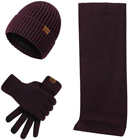 3 Pieces Winter Beanie Hat Seasonal Wrap入荷 Scarf 年間定番 Screen Touch Cap Gloves Knitted
