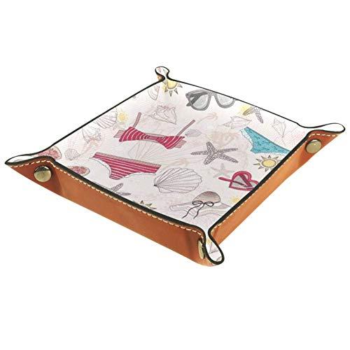 Aufbewahrungs-Tablett süß Sommer abstrakte Badeanzüge Sonnenbrille Sterne und Muscheln Schreibtisch Aufbewahrung Teller für Schlüssel Geldbörse Schmuck Telefon Home Decor, Multi, 6.2