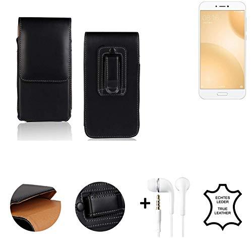 K-S-Trade® Leder Gürtel Tasche + Kopfhörer Für Xiaomi Mi 5c Seitentasche Belt Pouch Holster Handy-Hülle Gürteltasche Schutz-Hülle Etui Schwarz 1x