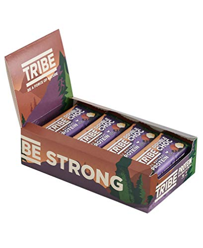 TRIBE Nutrition Natural Vegan Protein Bar, Gluten and Dairy Free Plant Protein, Double Chocolate Flavour - 50g (Pack of 16)