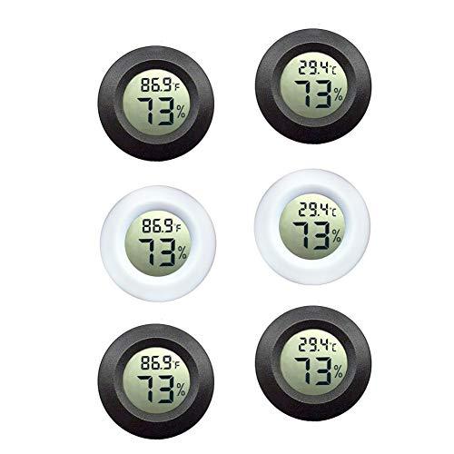 Mini Digital Hygrometer-Thermometer 6PCS, LCD Mini-Temperatur-Feuchtigkeitsmesser für Kühlschrank, Gefrierschrank, Gewächshaus, Auto, Zuhause, Büro, Tragbar und einfach zu bedienen