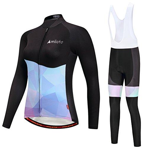 Uriah Women's Cycling Jersey Bib Pants White Sets Long Sleeve Reflective Black Blue Size XXXL(CN)