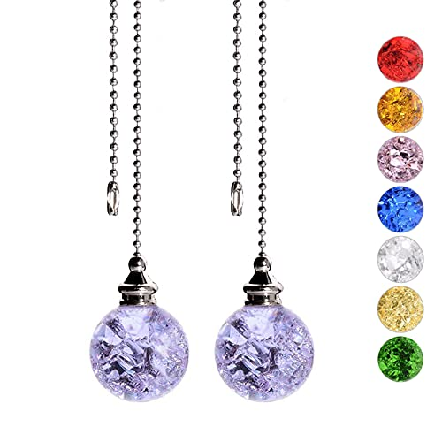 Ceiling Fan Pull Chain, Decorative Crstal Fan Pull Chain Extension, Ceiling Fan Pull Chain Ornaments with 21 Inches 3.2mm Diameter Beaded Ball Fan Pull Chain Extender, 2Pack, Purple