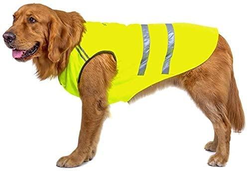 Bwiv Hunde Warnwesten Haustier Jacke Katze Mantel Bauchschutz Reflektierender Streifen Verdickungsstoff Draussen Gelbgrün 5XL (Rückenlänge 70cm, Brust 80-90cm)