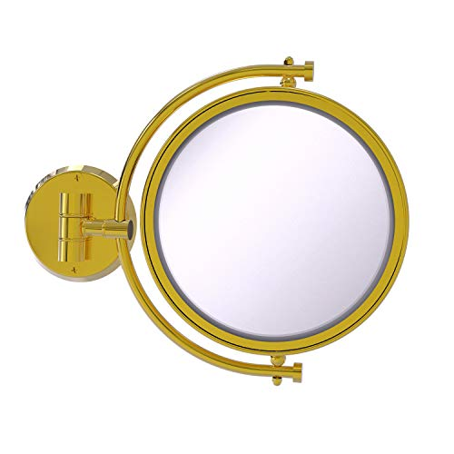Allied Brass WM-4/2X 8 Inch Wall Mounted 2X Magnification Make-Up Mirror, Polished Brass