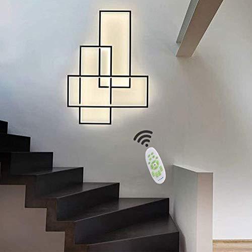 Wohnzimmerlampe LED Wandleuchte Modern Chic Eckig Dimmbar Wandlampe, Schlafzimmerlampe Acryl Lampenschirm mit Fernbedienung Design Lampen for Esszimmer Hotel Büro Küche Flur Leuchten Schwarz