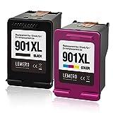 LEMERO 901XL Wiederaufbereitet Druckerpatronen Kompatibel für HP 901 XL für HP Officejet 4500 J4580 J4540 J4550 J4680 AIO,Schwarz Farbe