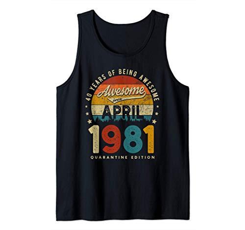 Vintage hecho en abril de 1981 40 años cumpleaños Regalos Camiseta sin Mangas