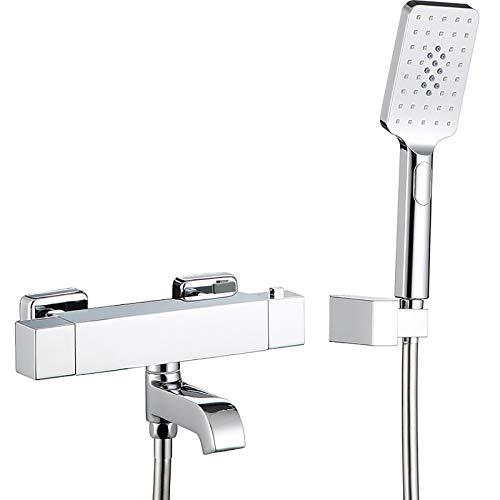 Shower Set Termostática Grifo de Bañera Montaje en Pared Giratorio Grifería de Bañera Cromo Mezclador de Bañera con ABS Alcachofa Ducha de Mano