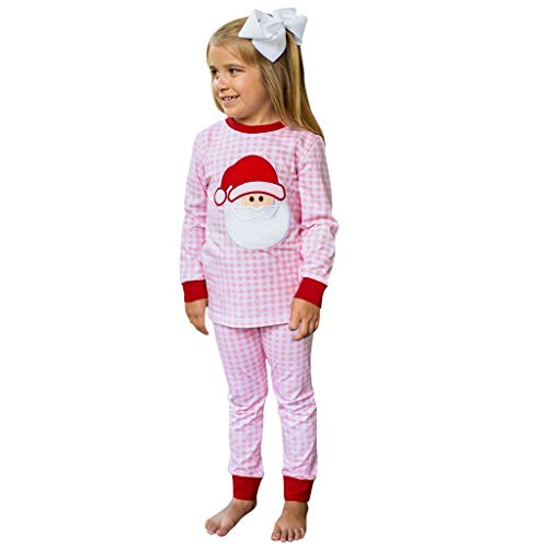 Little Kid Baby Girls Boy Christmas Pajamas Cute Santa Animals Print Striped Striped Plaid Tops+Pants Outfits.12M-7T Pink