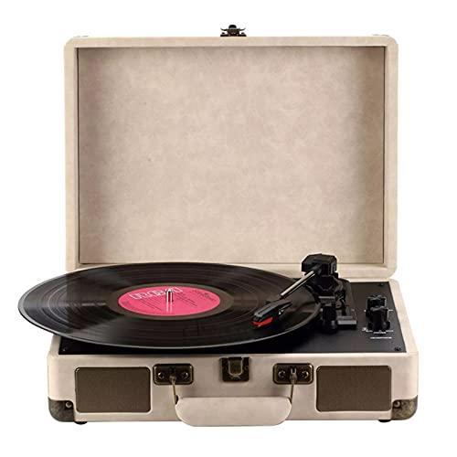 Nye Reproductor de grabación, Reproductor de música de Vinilo, la Caja de Cuero de Oveja se Envuelve con Bordes de latón Vintage, con 33 velocidades 33/45/78 RPM, Altavoz Incorporado, Blanco