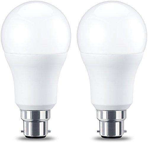 Amazon Basics Ampoule LED à baïonnette B22 A60, 10.5W (équivalent ampoule incandescente de 75W), blanc chaud - Lot de 2
