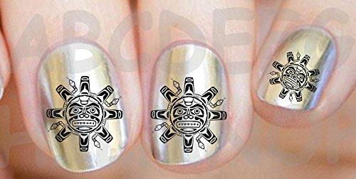 AWS set Water decals Sole Maya noir tribal style maya atzechi maori ongles nail art stickers transfert decoration black native style tribal tattoo tat