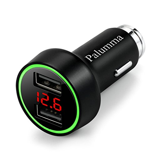Palumma 24W/48A Dual USB Car Charger 12V to USB Outlet with Cigarette Lighter Voltage Meter LED/LCD Display Battery Low Voltage Warning Black