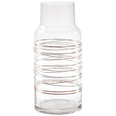 Torre & Tagus 902590A Cylinder Spun Wire Glass Vase, Short, Copper