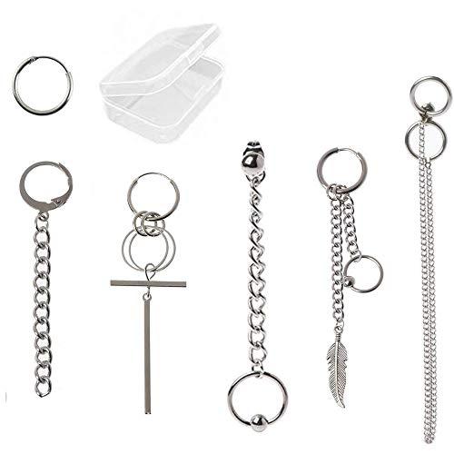 Integrity.1 Pendientes BTS, 6 Piezas Kit de Pendientes de Cadena ,Pendientes de Cadena de Borla de Acero de Titanio, Joyería de Moda Coreana Con Caja de Almacenamiento de Pendientes
