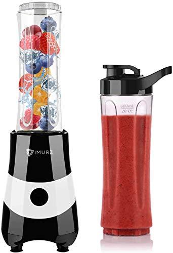 Smoothie Mixer, IMURZ Mini Smoothie Maker(350W Motor, 19500 U/Min, Bruchfeste 2x 600ml BPA Frei Flasche, 4-Klingen Messer), Edelstahl kompakter Standmixer für Smoothies, Shakes, Saft - Silber