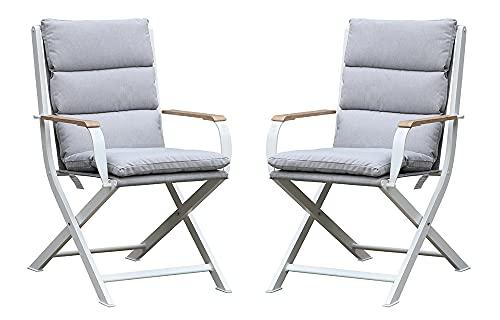 Westfield Terrassenstuhl Gartenstuhl 2 Stück inkl. Auflage Weiß, Aluminium