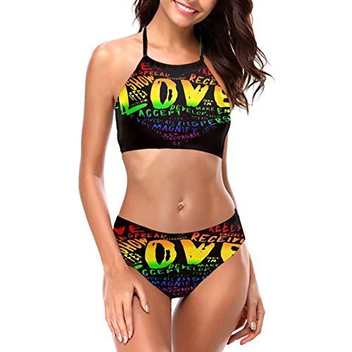 LGBT Pride Rainbow Heart Gays Lesben Damen Mädchen Bikini Sets Sexy Gepolstert Triangle Bikini Push Up V Ausschnitt Top Zweiteiliger Badeanzug Beachwear Bottom BH Set Gr. M, Schwarz