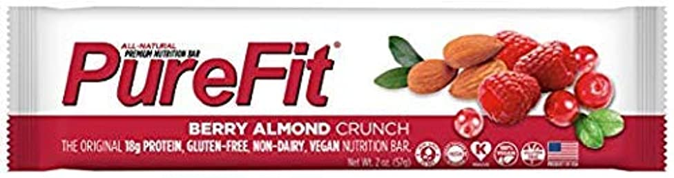 PureFit Berry Almond Crunch Premium Nutrition Bars, 15 Count | 18G Protein, Performance Enhancement & Energy Bar – Gluten Free, Dairy Free, Low Carb, Vegan
