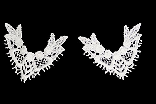 Altotux 2.25 x 2 Inches White Venice Lace Guipure Aplica Collar Tips by 2 Pairs by