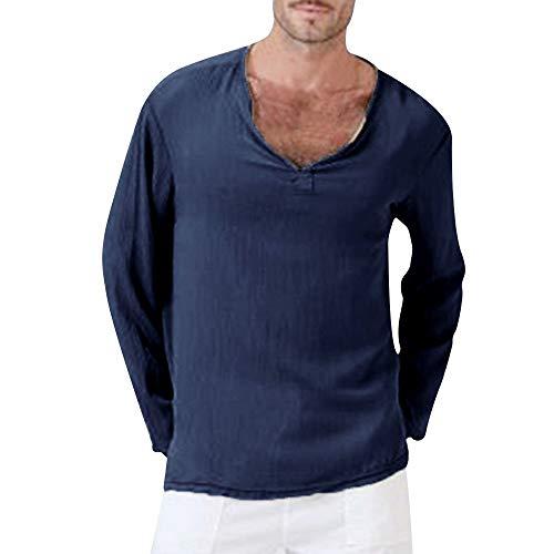 REALIKE Herren Langarm-Hemden Oberteil Classics V-Ausschnitt Einfarbige Tops Casual Basic Slim-Fit Lang Geschnittenes T-Shirt Bequem Sport Yoga Atmungsaktiv Viele Farben Blusen