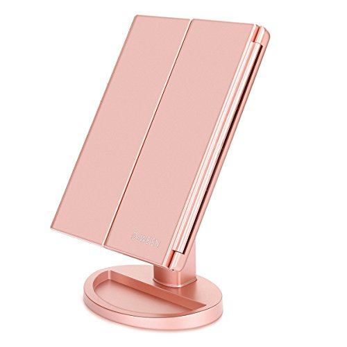 Nature Daylight 36 LEDs Tri-Fold Lighted Vanity Makeup Mirror with Touch Screen Dimming and 3X/2X/1X Magnification Makeup Mirror, 180 Degree free Rotation, Countertop Cosmetic Mirror (Rose Gold)