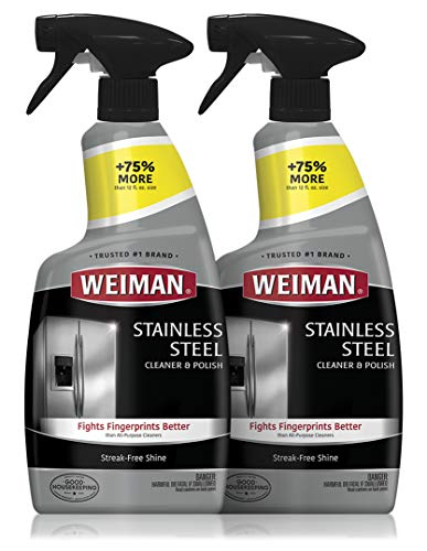 Weiman Stainless Steel Cleaner and Polish - (2 Pack) - Protects Appliances from Fingerprints and Leaves a Streak-Free Shine for Refrigerator Dishwasher Oven Grill etc