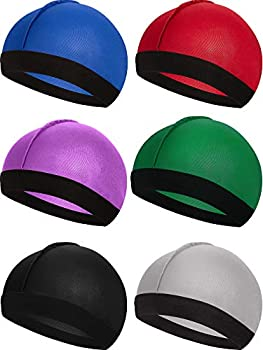 6 Pieces Wave Caps for Men 360 Elastic Silky Wave Caps Velvet Hat Band Men Soft Breathable Material for 360 540 and 720 Stocking Wave Durag Waves  Black Silver Red Green Purple Blue