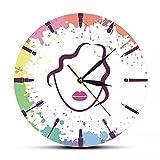 Reloj de Pared Belleza Cara de niña Artista de Maquillaje Moda Reloj de Pared Maquillaje y Mujer Reloj de Cara salón de Belleza Reloj de Arte de Pared