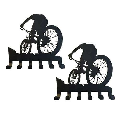 QKFON 1/2 pcs Mountain Bike Gear Rack 6 Hooks Metal Wall Decor Mountain Biking Wall Art Bicycle Art Silhouette Wall Sticker Carved Black 11 * 13.8 Inch (2 pcs)