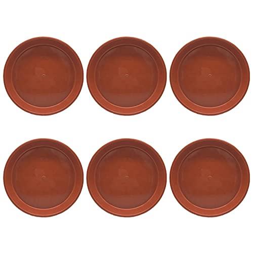 Cozy69 Platillo para plantas – 6 unidades de 6 bandejas de plástico duradero, bandeja para goteo, para macetas, platillo grueso para plantas interiores y exteriores (rojo, tamaño: 6 pulgadas)