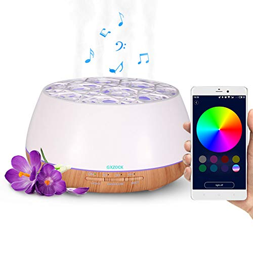 GXZOCK Diffusore di Aromi 400 ml, Diffusore di Oli Essenziali 30 Colori LED con Altoparlanti Bluetooth, Umidificatore Ambiente con Telecomando App, per Ufficio,Yoga,Spa,Camera,Sale Conferenza
