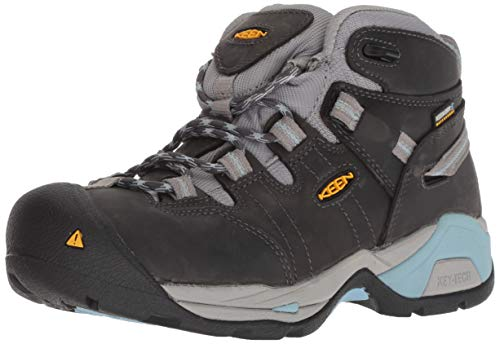 KEEN Utility Women's Detroit XT Mid Soft Toe Waterproof Work Boot, Magnet/Sterling Blue, 8 Medium US