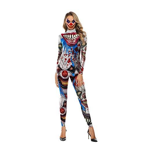 Damen Halloween Bodysuit Overall Body Kostüm 3D Clown Print Lange Ärmel Einstellen Anzieh Bühnenanzug Catsuit Partykleidung Cosplay Jumpsuit,L