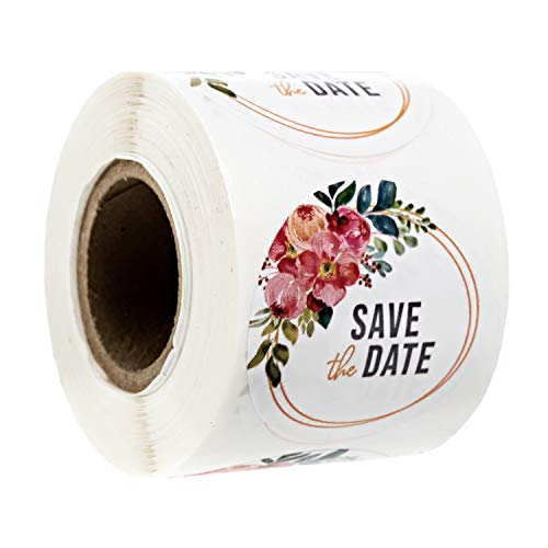 """Vibrant Floral Save The Date Stickers / 1.5"""" Summer Wedding Labels / 250 Watercolor Engagement Stickers"""