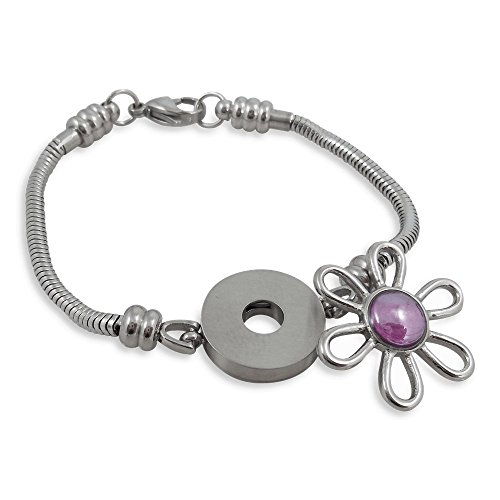 Timeline Treasures Charm Bracelet for Women, Fits European Bead Charms, Snap Button, 7.5 Inch
